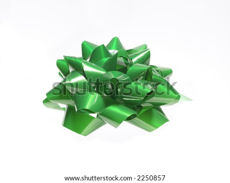 Green ribbon over white background - stock photo