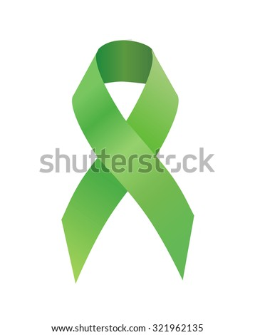 Green ribbon Scoliosis Awareness, traumatic brain injury awareness, Mental health awareness,  celiac disease, Lyme disease, organ transplant and donation awareness, pedestrian safety awareness - stock photo