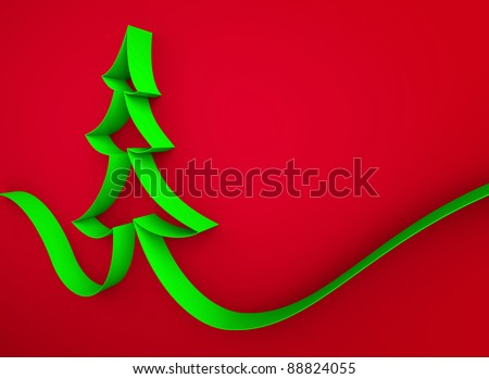 green ribbon tree on a red background