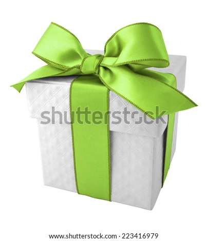 Green Ribbon with White Gift Box on white background - stock photo