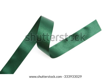 green ribbons isolated on white - stock photo