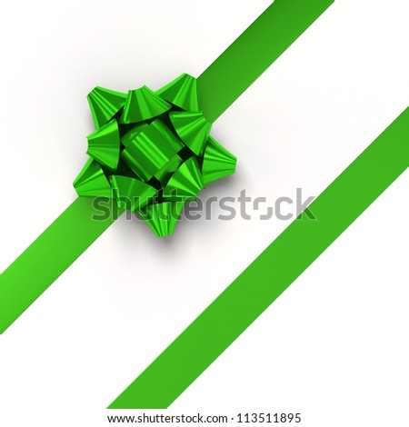 Green ribbons with bow for gift wrapping on white background