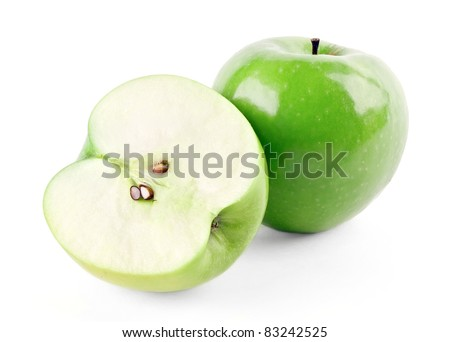 Green ripe apple and half isolated on white background - stock photo