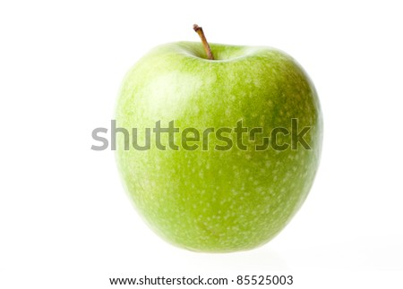 Green ripe apple isolated on a white background