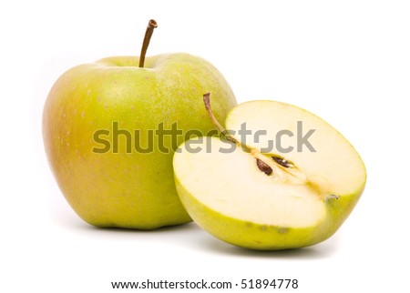 Green ripe apple isolated on white background - stock photo