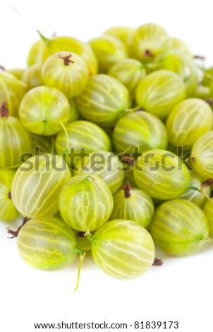 green ripe gooseberries isolated on a white background