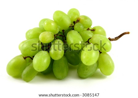 green ripe grape isolated on white with a bit of shadow
