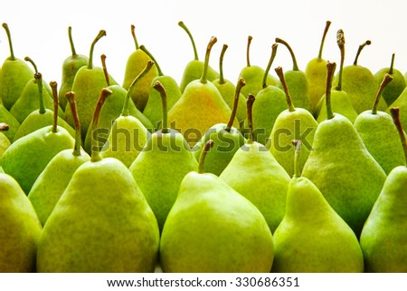 Green  Ripe Pears. Fruits Background - stock photo