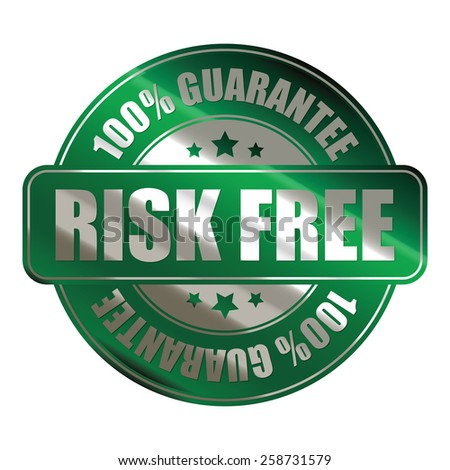 green risk free 100% guarantee sticker, badge, icon, stamp, label, banner, sign isolated on white