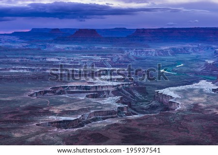 Green River Overlook at Sunset - Canyonlands National Park - stock photo