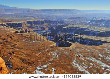 Green River Overlook in Canyonlands National Park, Utah, in winter - stock photo