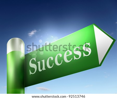 green road sign with word Success on it - stock photo