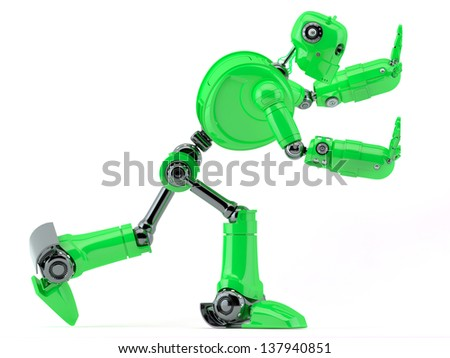Green robot pushing an invisible object. Isolated on white background - stock photo