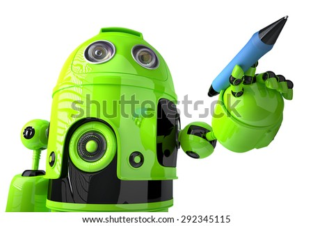 Green Robot writing on invisible screen. Isolated on white. Contains clipping path