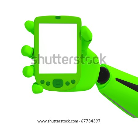 Green robotic hand hold a blank pda. Including clipping path - stock photo
