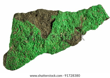 Green rock isolated on white background. - stock photo