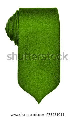 Green rolled up tie isolated on white background - stock photo
