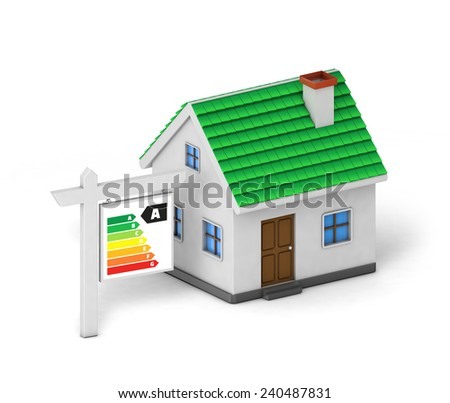 green roof house energy label isolated white background with clipping path - stock photo