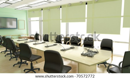 Green room with big conference table - stock photo