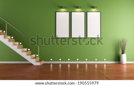 Green room with contemporary staircase and empty frame - rendering - stock photo