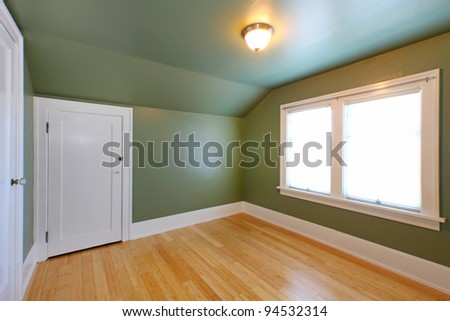 Green room with double windows. - stock photo