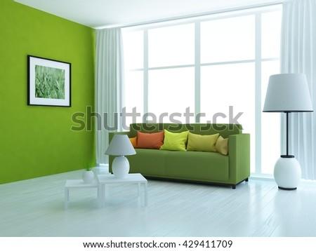 Green room with green sofa. Living room interior. Scandinavian interior. 3d illustration - stock photo