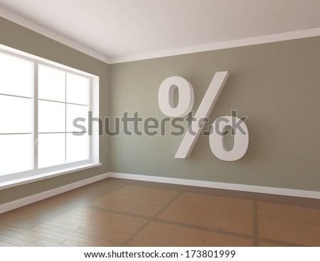 green room with percent - stock photo