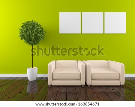 green room with two armchairs - stock photo