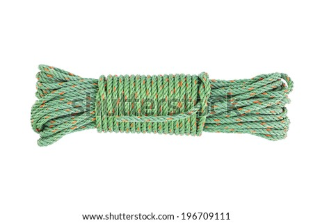 Green rope on white background. - stock photo