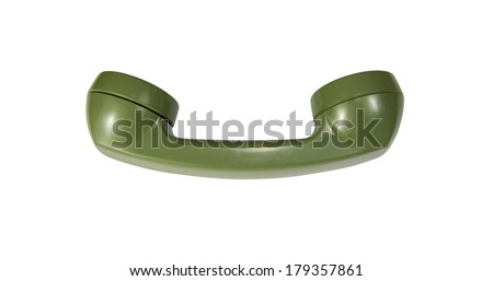 Green rotary phone handset isolated on white - stock photo