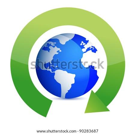 green round arrows around globe illustration design - stock photo