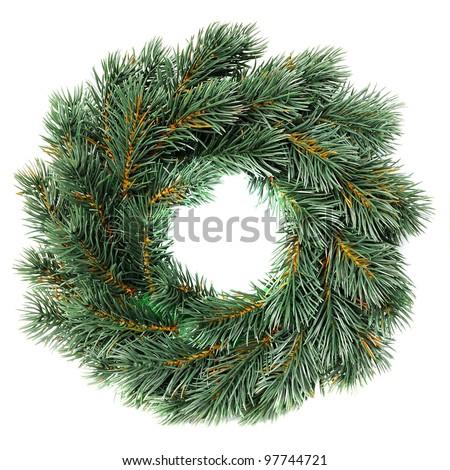 Green round Christmas wreath isolated on white background - stock photo