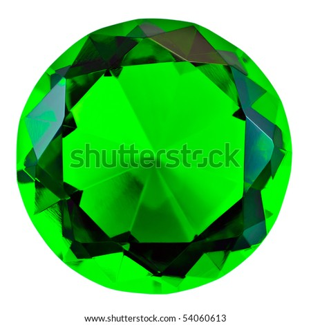 Green round gemstone isolated on white, front view - stock photo