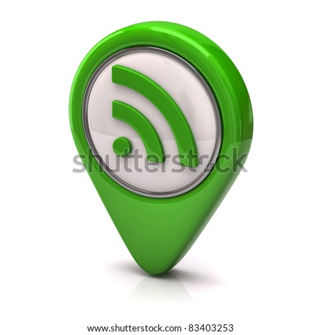 Green rss icon - stock photo