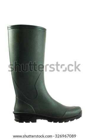 Green rubber boots isolated on white - stock photo
