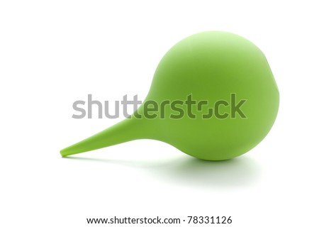 Green rubber pear (enema). Isolated on white - stock photo