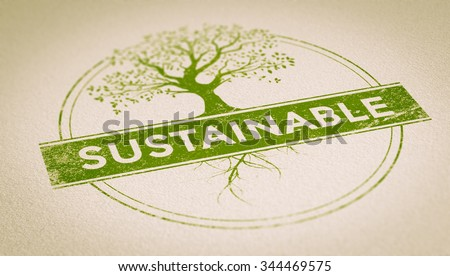 Green rubber stamp imprint on a sheet of paper composed of a tree and the word sustainable inside a circle with depth of field effect. Concept image for illustration of sustainability and environment. - stock photo