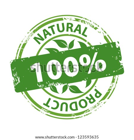 Green rubber stamp with text Natural product 100% isolated on white background - stock photo