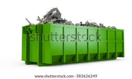 Green rubble container isolated on white background - stock photo