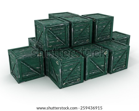Green Rusty Army Crates. Wooden Container Boxes. 3D Illustration - stock photo