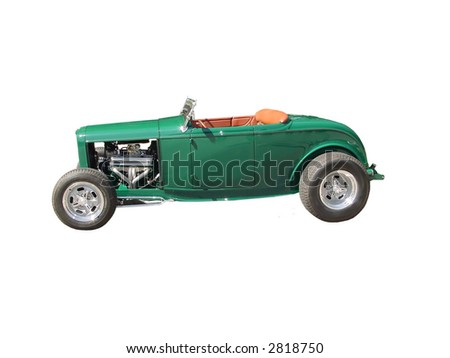 green 1930s convertible made into a hot rod, it is isolated on white