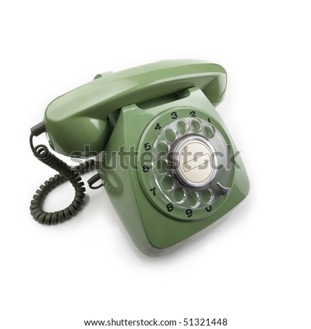 Green 70s-80s vintage telephone - stock photo