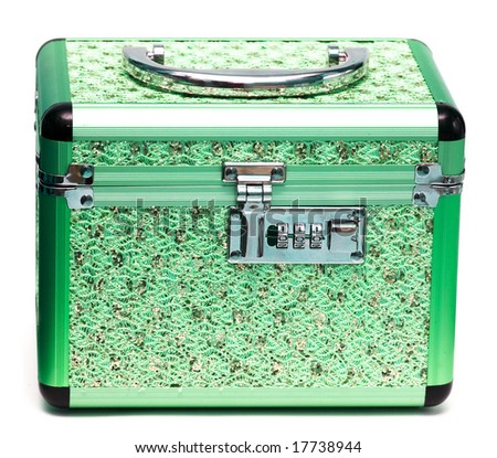 green safe box with padlock