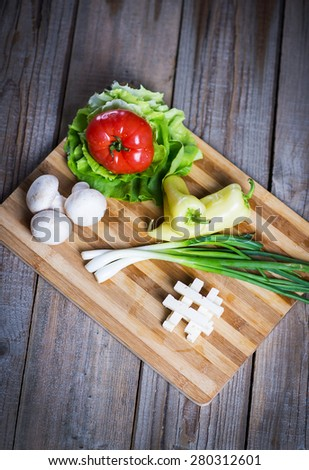 Green salad ingredients; Greek salad ingredients - stock photo