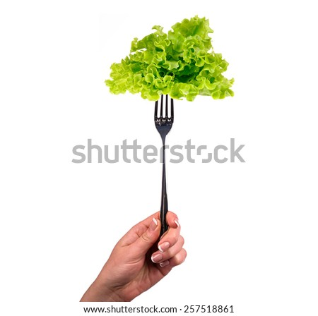 green salad on the fork isolated on white background
