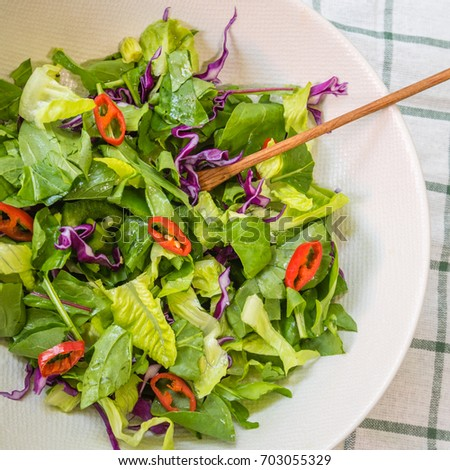 Green Salad With Rocket Salad And Romaine Lettuce Chilly Green Capsi And Red Cabbage