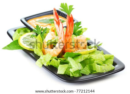 Green salad with shrimps isolated on white background, healthy eating concept - stock photo