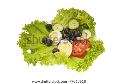 green salad with vegetables - stock photo