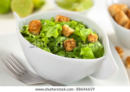 Green salad with yogurt dressing and croutons made of wholewheat bread (Selective Focus, Focus on the crouton in the front) - stock photo