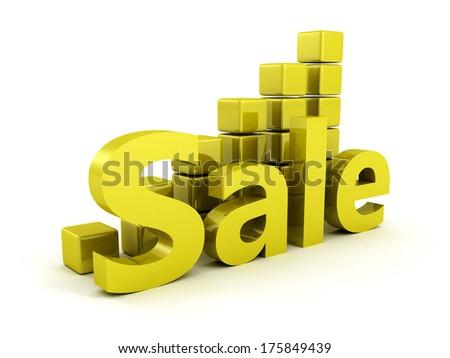 green sale growing blocks bar chert graph - stock photo